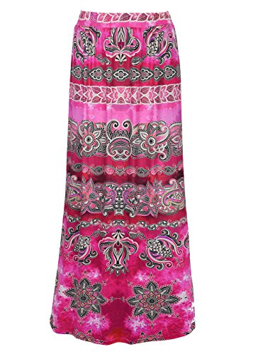 Frauen Casual Bohemian High Waisted Hippie Rock Strand Lange Maxi Kleid Rot