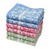 """« Emily » fine Floral handkerchiefs - 14"""" Square - Bag of 6 Units"""