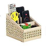 Tilt-Slot, die Heimdekoration, PU-Leder Fernbedienung-Halter Schreibtisch-Organizer/Aufbewahrungsbox, mit TV-/CD-Caddy-Organizer, Gold Diamond, 16.5*13*13.5cm