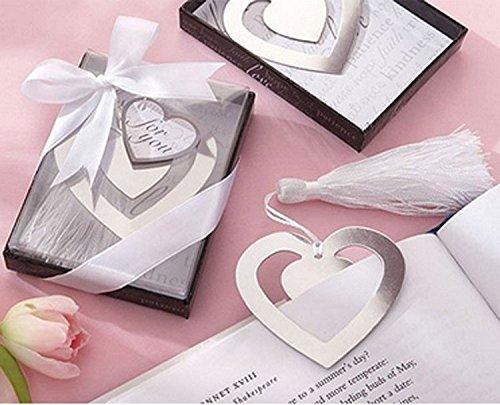 20PCS/LOT Classic Twin Herzen Lesezeichen mit Quaste Lesezeichen Metall, Hochzeit Souvenirs Baby Dusche Partei begünstigt, und Geschenke