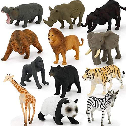GDR 12-teiliges Puzzle-Lernspielzeug, Simulierte Action-Figur, Mini-Wildtier-Modell-Spielzeug, Panada-Elefant, Orangutan, Löwenbär, Modell