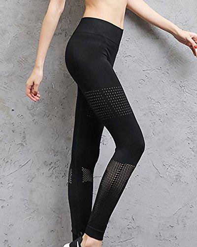 Pantaloni Da Yoga Da Donna Maglia Pannelli Elastico Leggings Allenarsi Pantaloni Nero