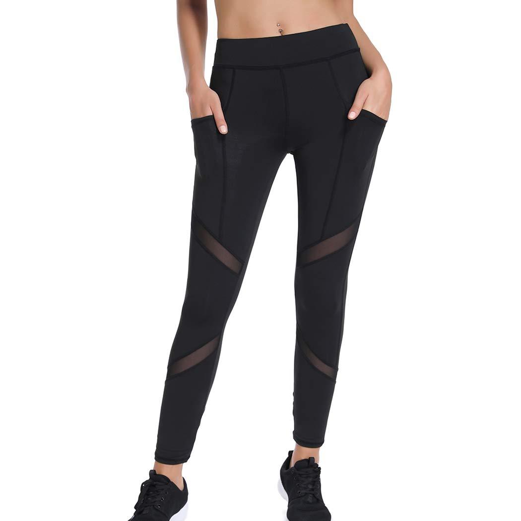d09fc84da6de5 Joyshaper Sports Leggings with Pockets for Women Black Mesh Capri Trousers Yoga  Pants Tights Gym Workout Fitness Training Athletic Stretchy Skinny Slim ...