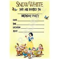 Disney Snow White–Fiesta de cumpleaños invitaciones–Enano diseño de retrato–fiesta suministros/accesorios (Pack de 12invitaciones A5) WITHOUT Envelopes