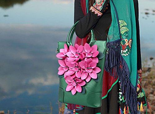 QPALZM QPALZM Wide Schultergurte Frauen Beutel Color Pack 2017 Messenger Bag Blumen Mode Umhängetasche Reißverschluss Geschlossene Handtasche Green