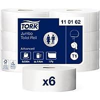 Tork 110162 Rollos de papel higiénico Jumbo Advanced de larga duración de 1 capa compatibles con el sistema higiénico Jumbo Tork T1, 6 rollos x 2500 hojas