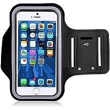 haodou brazalete para iPhone 7Plus 5,5pulgadas deporte gimnasio correr brazo bolsa funda para iPhone 6Plus Samsung Sony HTC Huawei LG apto para ciclismo, ciclismo, senderismo, montar a caballo negro