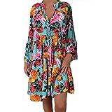 LUGOW Minikleid Damen Boho Drucken FreizeitKleider Beiläufiges LangKleider Lange Ärmel Kleid Strandkleid Abendkleider Hemdkleid BlusenkleidKleider(X-Large,Mehrfarbig A)