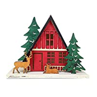 terferein Christmas Wooden House Decorations,Christmas hanging ornaments with fine workmanship,exquisite Christmas motif,suit for Christmas tree or room,home Decorations