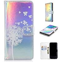 Nadoli Handytasche für Galaxy S9,PU Leder Klapphülle Laser Weiß Löwenzahn Schmetterling Muster Handyhülle Brieftasche... preisvergleich bei billige-tabletten.eu