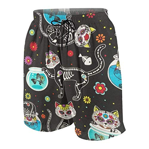 Sugar Skulls Cats Boys Beach Shorts Quick Dry Beach Swim Trunks Kids Swimsuit Beach Shorts,Boys' Pull-on Cargo Shorts M