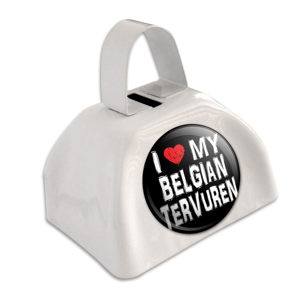 I Love My Belgian Tervuren Stylish White Cowbell Cow Bell