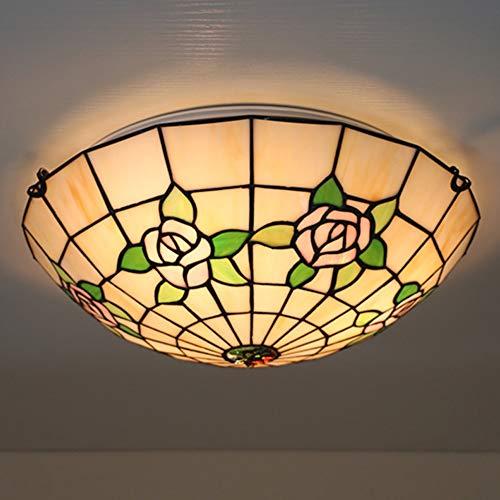Tiffany Lampe Rose Set Tischlampe Wandleuchten Deckenleuchte Pendelleuchte Stehleuchte TLS-007,16InchCeilingLightA