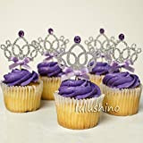 Astra Gourmet 12 Counts Glitter Tiara Crown Girl Birthday Party Cupcake Topper Princess Birthday Party Decorations...