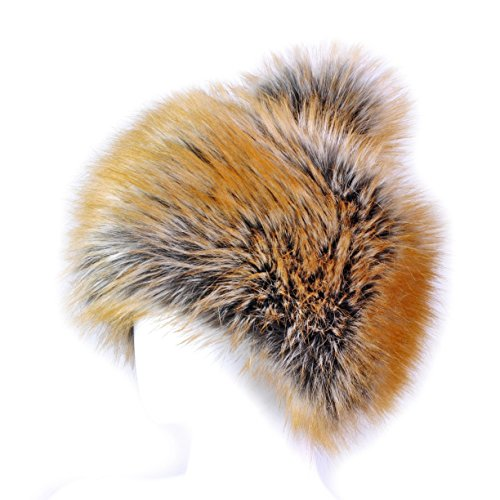 Futrzane Tatar Faux Fox Fur Winter Hat Women Trapper Russian Cossack Pompom