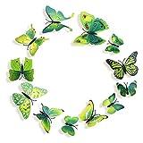 Lumanuby 12 Stück 3D Schmetterlinge Wandtattoos Wandsticker Mit Magnet Wand Dekoration für Zuhause Hochzeit Und Kindergarten Decor,Grün