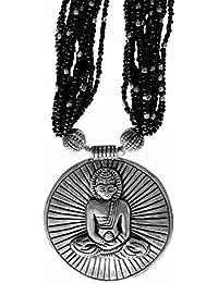 Buddha 'Blessings And Awakenings' Pendant Chakra Necklace ~ Spiritual Yoga Meditation Reiki Vegan Jewellery ~ Tibetan Silver Statement Necklace