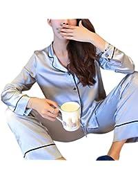 Pijama de seda de dos piezas para Las mujeres, Camisón de manga larga Tops + pantalones largos, Homewear regalo