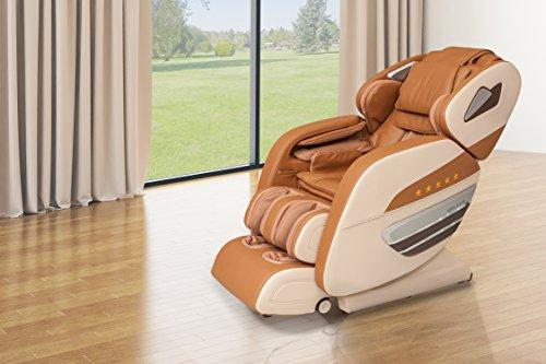 WELCON Dynamite Massagesessel Masagestuhl mit Shiatsumassage, scannt 128 Punkte des Rückens, Nacken-, Schulter-, Rücken-, Gesäß-, Oberschenkel, Waden-, Fuß-, Arm- und Handmassage, braun beige