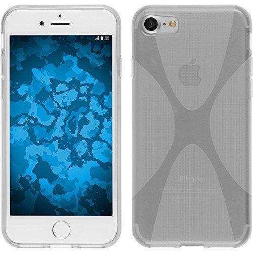 PhoneNatic Case für Apple iPhone 7 Hülle Silikon schwarz X-Style Cover iPhone 7 Tasche + 2 Schutzfolien Clear