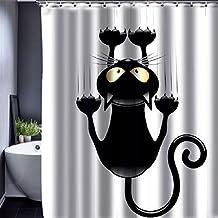 Novità gatto Tenda della doccia da , poliestere, arte digitale stampata, impermeabile, prova della muffa e sapone resistente, non PEVA, lavabile in lavatrice, senza coloranti, 150 x 180 cm (Novità gatto)