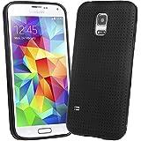 EnGive Samsung Galaxy S5 Mini Hülle Silikon Weich Tasche Case Schutzhülle (Schwarz)