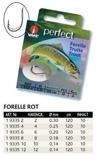 VMC Perfect Forelle rot gebundene Forellenhaken 120cm Vorfach, Hakengröße:8