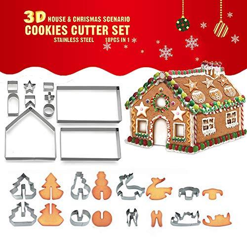 UMIWE Ensemble de emporte-pièce de Noël en 3D, 18 pièces en Acier Inoxydable Biscuit à Chocolat Coupeurs à Chocolat Moule Outils de Cuisson DIY, Cake Fondant Cutter Ustensiles de Cuisson