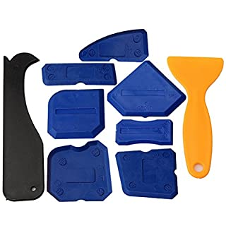 kuou 9 Pieces Silicone Sealant Tools, Caulking Kit Sealant Scraper for Kitchen & Bathroom & Home Sealing Projects