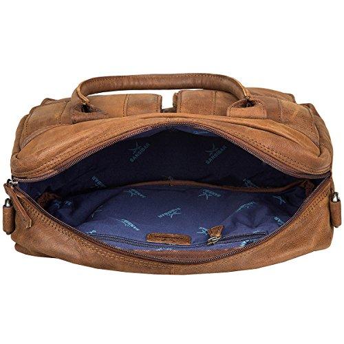 Sansibar Levante Leder Handtasche Schultertasche Bowlingbag B-738-LT Black