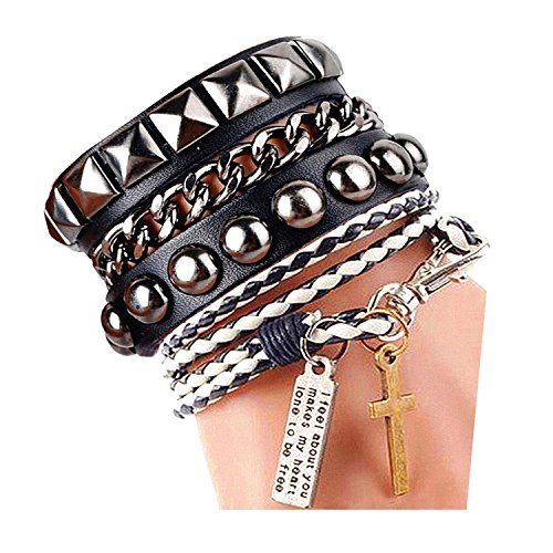 Modeschmuck Blanca (Womens Mens Wrap Rivets cadeau de f¨ºte de papa Stud cuir Bracelet presse 8 couleurs noir et)