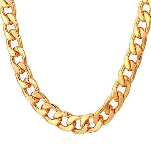 Tuokay 18K Vergoldet Herren Halskette, 24 Zoll x 12mm Edelstahl Halskette, Nachbilden Goldkette, Punk-Stil Kette, Glitzern und Hübsch