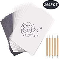 Carbon Transfer Paper 200 Sheets A4 Black and Tracing Copy Paper with 5 PCS Double Ended Tracing Stylus Dotting Tools for Wood, Paper, Canvas and Other Art Surfaces