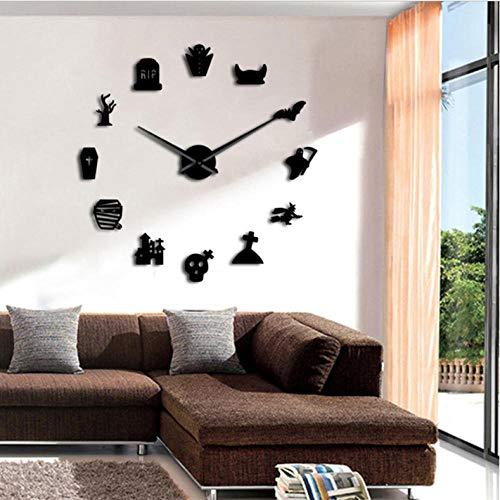 IY Große Wanduhr Modernes Design Grave Devil Rahmenlose Icon Wanduhr Home Art 3D Big Ghost Mirror 47inch ()