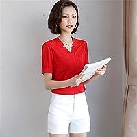 TAIDUJUEDINGYIQIE Camiseta de manga corta para mujer Camisa de vestir de color liso, Rojo, 2XL
