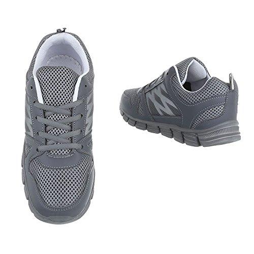 Ital-Design Sneakers Low Damenschuhe Low-Top Sneakers Schnürsenkel Freizeitschuhe Grau
