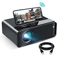 """WiFi Projector, ELEPHAS 2020 WiFi Mini Projector with Synchronize Smartphone Screen, 1080P HD Portable Projector with 6000 Lux and 200"""" Screen, Compatible with Android/iOS (Black)"""