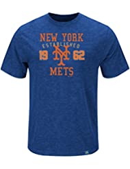 "New York Mets Majestic MLB ""Heads Or Tails"" Cooperstown Hyper Slub S/S Shirt Chemise"