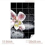 Graz Design 761462_20x25_60 Fliesenaufkleber Steine und Lilie | Bad-Fliesen mit Fliesenbildern überkleben (Fliesenmaß: 20x25cm (BxH)//Bild: 60x90cm (BxH))