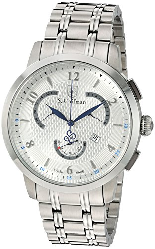S.Coifman Men's Quartz Watch with Silver Dial Chronograph Display and Silver Stainless Steel Bracelet SC0235