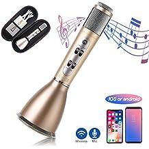 Micrófono Bluetooth Inalámbrico, SGODDE Batería Recargable Incorporada de 1800mAh Compatible con PC/ iPad/ iPhone/ Smartphone