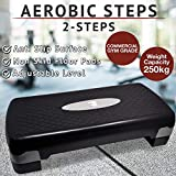 Aerobic-Stepper/Stepper für Fitnessstudio, Yoga, 3 Ebenen, Höhe 10 cm, 15 cm, 20 cm, schwarz/grau,...