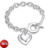 Faysting EU gioielli donna braccialetti bracciale argento cuore grande figura buon regalo natale san valentino argento