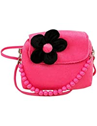 Generic Plush Flowers Purse Young Girl Handbag Girl Beads Chain Handbag Baby Purse Coin Purce Rose Red Purse