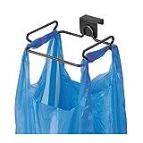 mDesign Müllsackhalter aus Metall – praktische Halterung für Müllsäcke und Tüten in der Küche – einfach zu montierender Sackhalter zum über die Tür hängen – mattschwarz