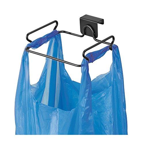 Galleria fotografica mDesign Gancio porta sacchetti ideale per cestino spazzatura – Porta sacchetto spazzatura per ante – nero opaco