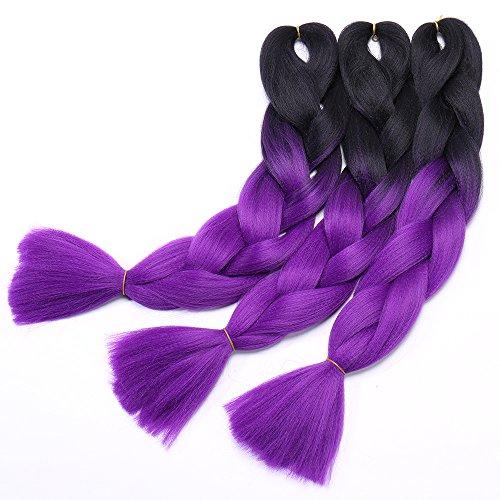Extension ombre treccia per capelli treccine braiding hair 100g/pcs, confezione da 3 ciocche, due tonalità 19# nero a viola