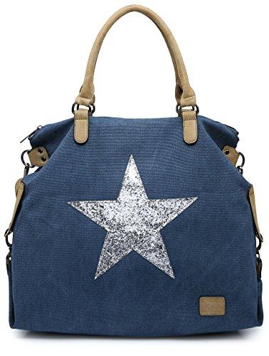 55c0a7d70f3 Big Handbag Shop Canvas Rainproof Fabric Trendy Designer Inspired Large  Size Glitter Star Top Handle Tote