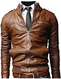 Hommes Classique Slim Fit Veste en Cuir Moto Blouson Manches Longues Vestes Softshell Motorcycle Jackets