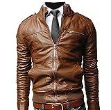Hommes Classique Slim Fit Veste en Cuir Moto Blouson Manches Longues Vestes Softshell Motorcycle Jackets M marron